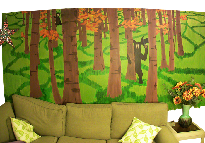 Bear Mural in Living Room