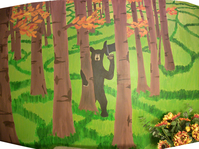 Bear in top hat mural painting