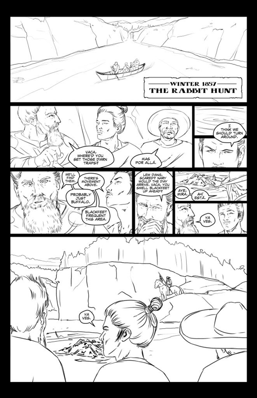 Los Poncheros graphic novel page 2 pencil